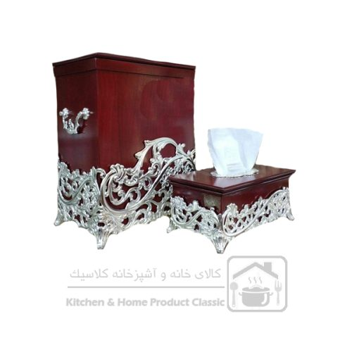 سطل و دستمال چوبی مدل سلوین کد۱۸۳۰۰سیلور
