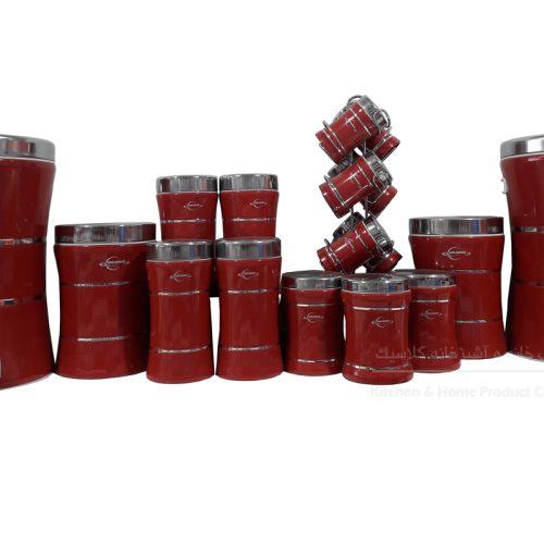 سرویس ۱۸ پارچه اورانوس رنگ قرمز با درب استیل