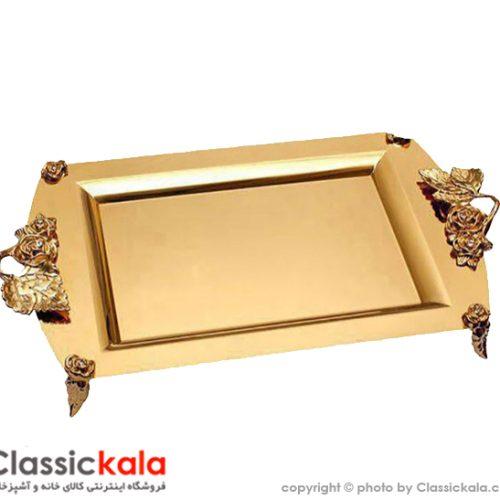 سینی استیل طلایی نگار مستطیل کوچک مدل رز کد ۶۲۶
